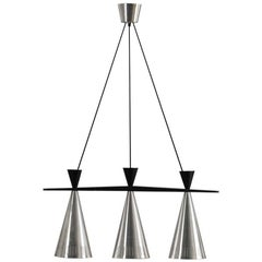 Pair of Swedish Tri-Cone Linear Pendant Lamps