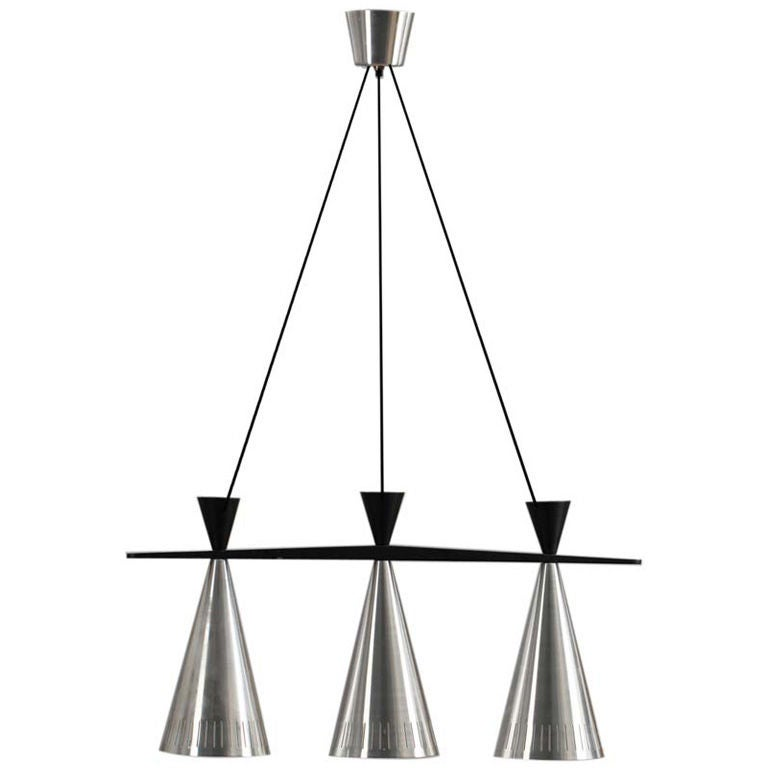 Pair of Swedish Tri-Cone Linear Pendant Lamps For Sale