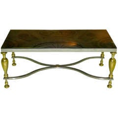 Vintage Classic Steel & Brass Cocktail Table with Bronze Mirror Top