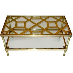 Smith & Watson Two-Tier Cocktail Table in Brass Trellis & Glass