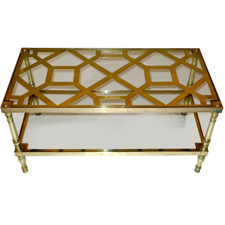 Two Tiered Brass And Glass Coffee Table: Smith And Watson Two-Tier Cocktail Table In Brass Trellis