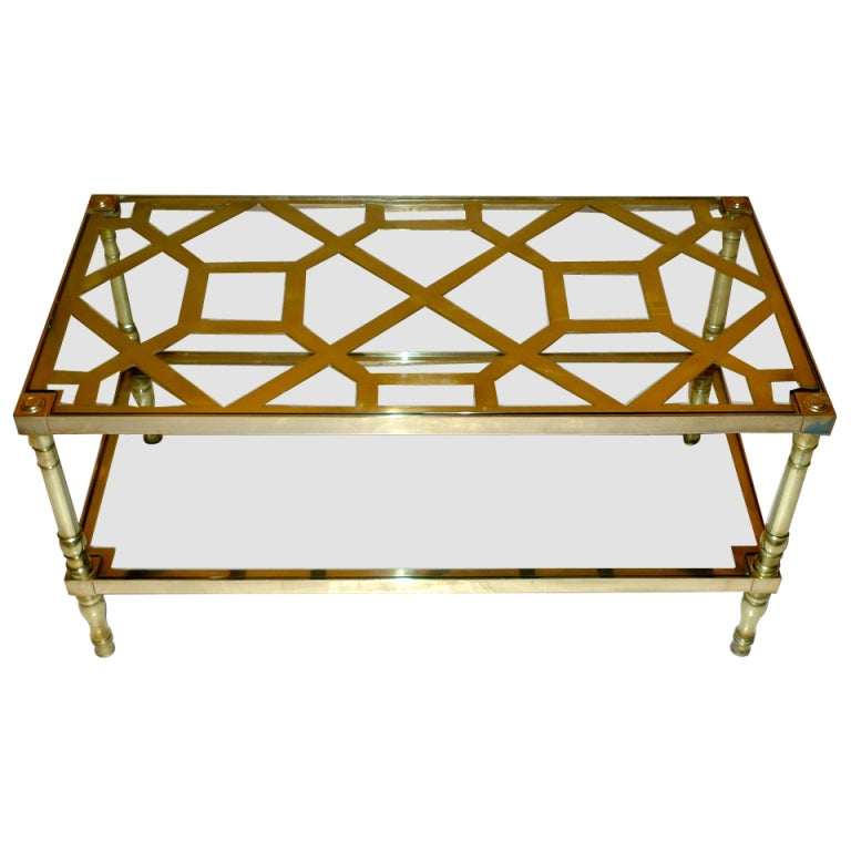 Rectangular Two-Tier Cocktail Table in Brass Trellis & Glass