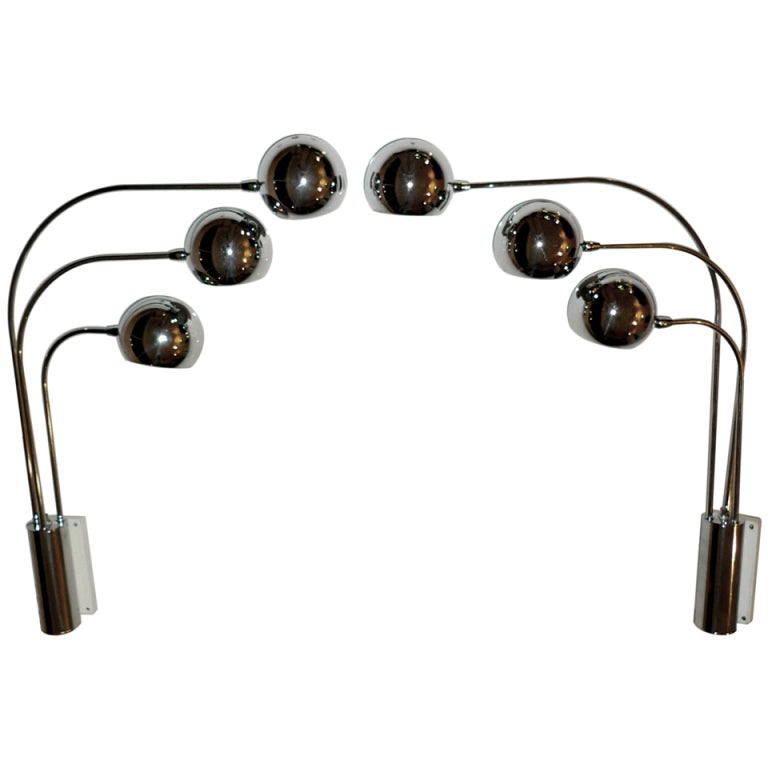 Chrome Ball Wall Lights : Pair of 3 Arm Chrome Eye Ball Sconces by Mutual Sunset Lighting For Sale at 1stdibs