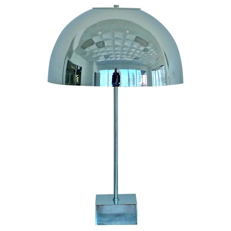 Superbe Paul Mayen Chrome Dome Table Lamp For Habitat For Sale