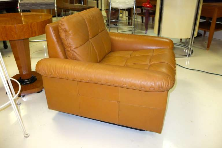 De Sede 1970's Leather Club Chair In Excellent Condition For Sale In Hingham, MA