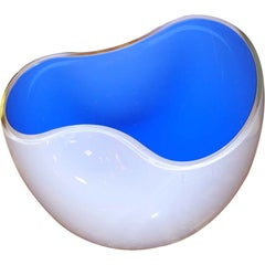 Alfredo Barbini Biomorphic Glass Bowl, Signed