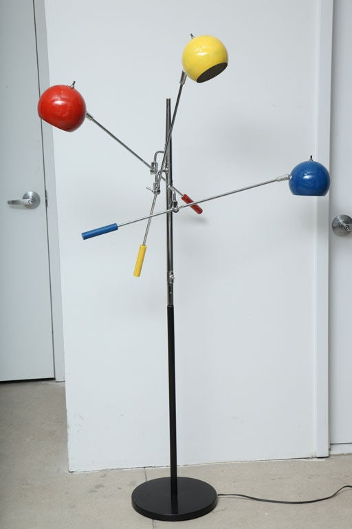 three arm articulating floor lamp with multi color balls at 1stdibs. Black Bedroom Furniture Sets. Home Design Ideas