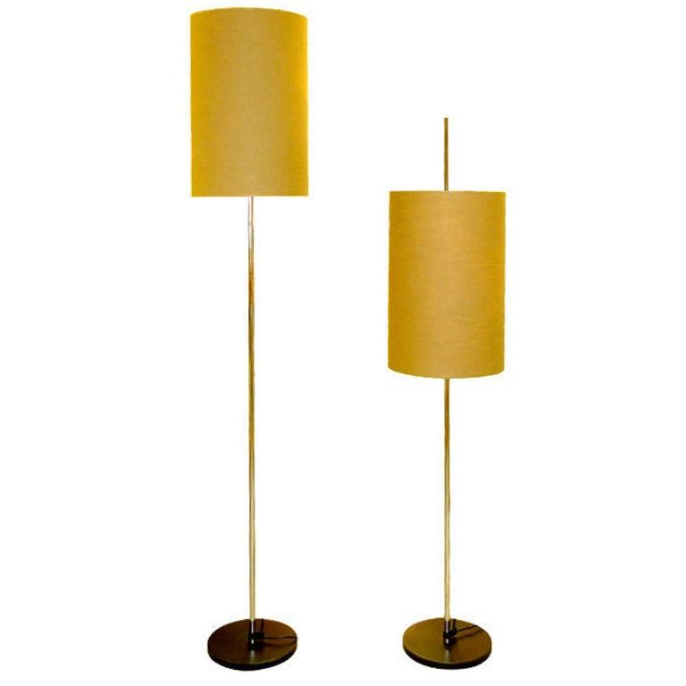 pair adjustable steel staff leuchten floor lamps at 1stdibs. Black Bedroom Furniture Sets. Home Design Ideas