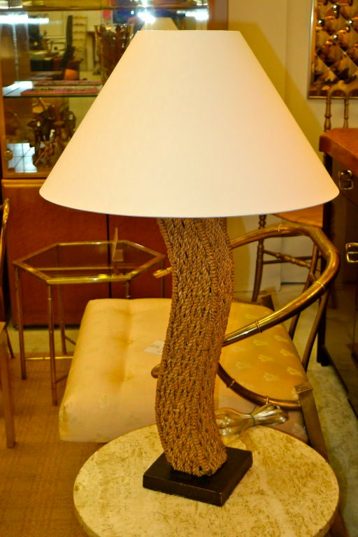 Pair of Rope Lamps attributed to Adrien Audoux and Frida Minet In Excellent Condition For Sale In Hingham, MA