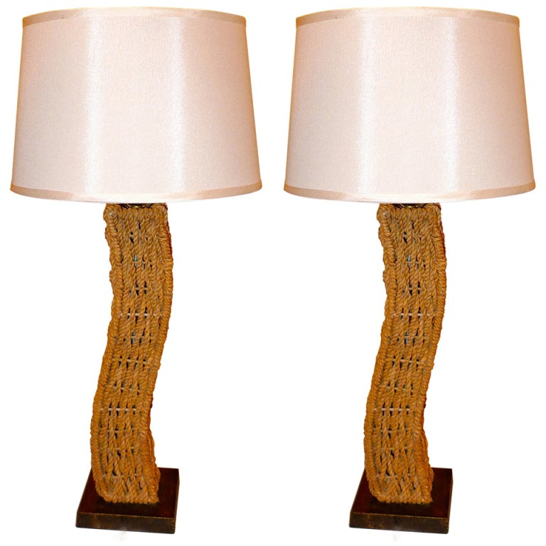 Pair of Rope Lamps attributed to Adrien Audoux and Frida Minet