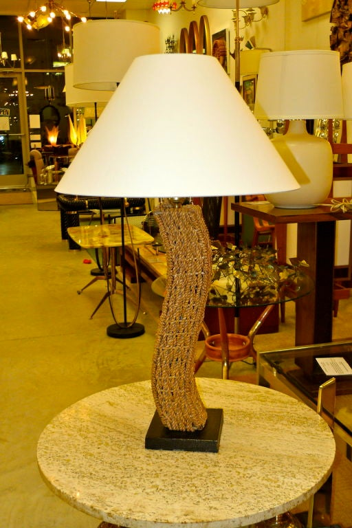 Mid-20th Century Pair of Rope Lamps attributed to Adrien Audoux and Frida Minet For Sale