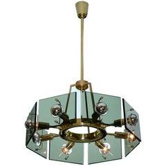 Gino Paroldo 1960's Italian Brass & Glass Chandelier