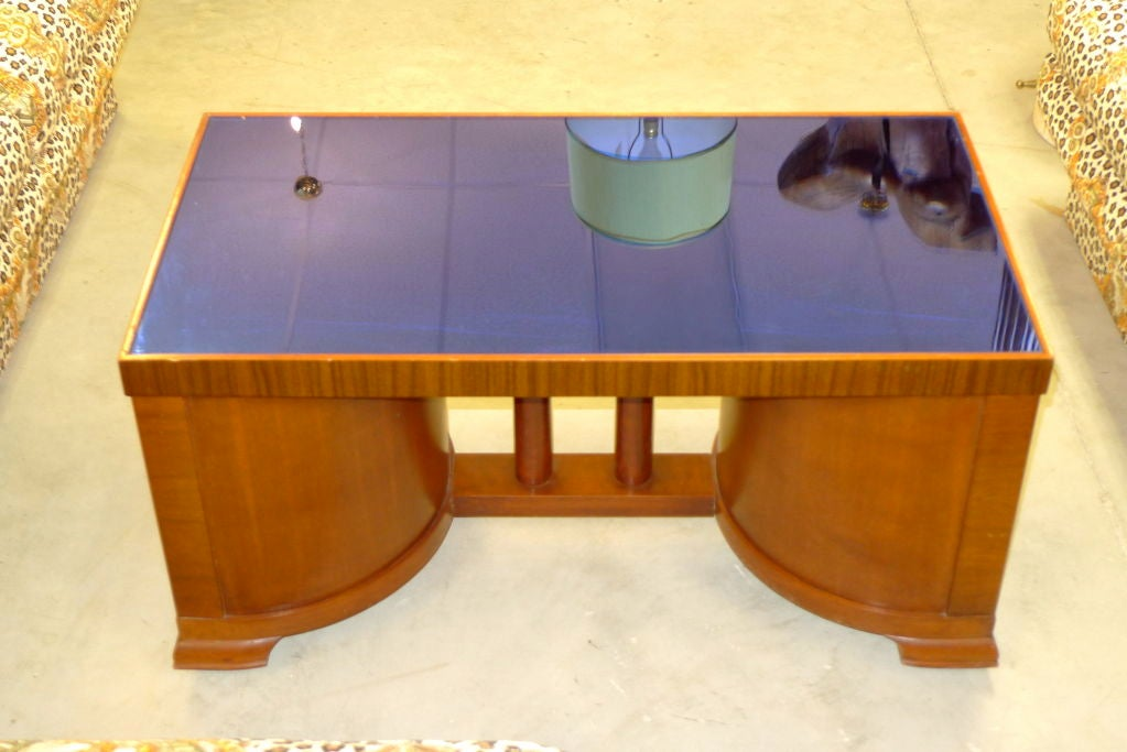 Mid 20th Century American Deco Tails Table With Cobalt Blue Mirror