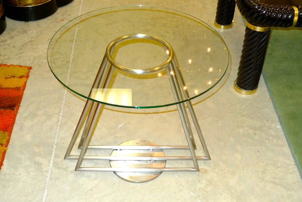 Captivating Highly Unusual Italian Rationalist Designed Table Of Concentric Triangular  Form Made Of Brushed Aluminum Tube