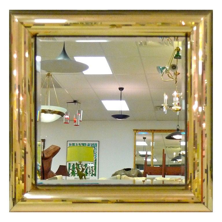 Jon Gilmore Square Frame Golden Mirror At 1stdibs