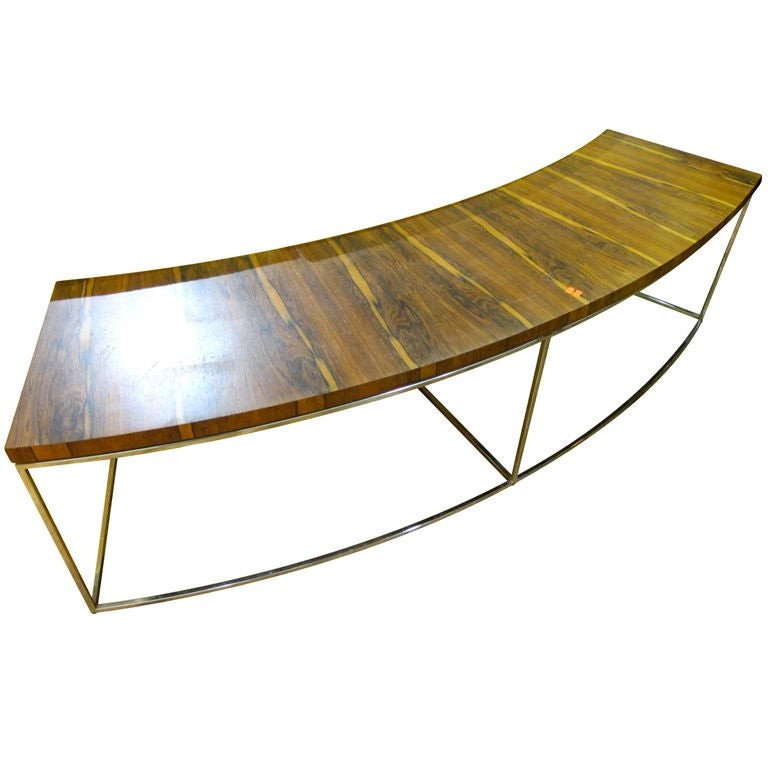 milo baughman for thayer coggin curved sofa console table