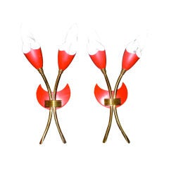 Pair of G.C.M.E Mod.351 Tulip Form Italian Sconces