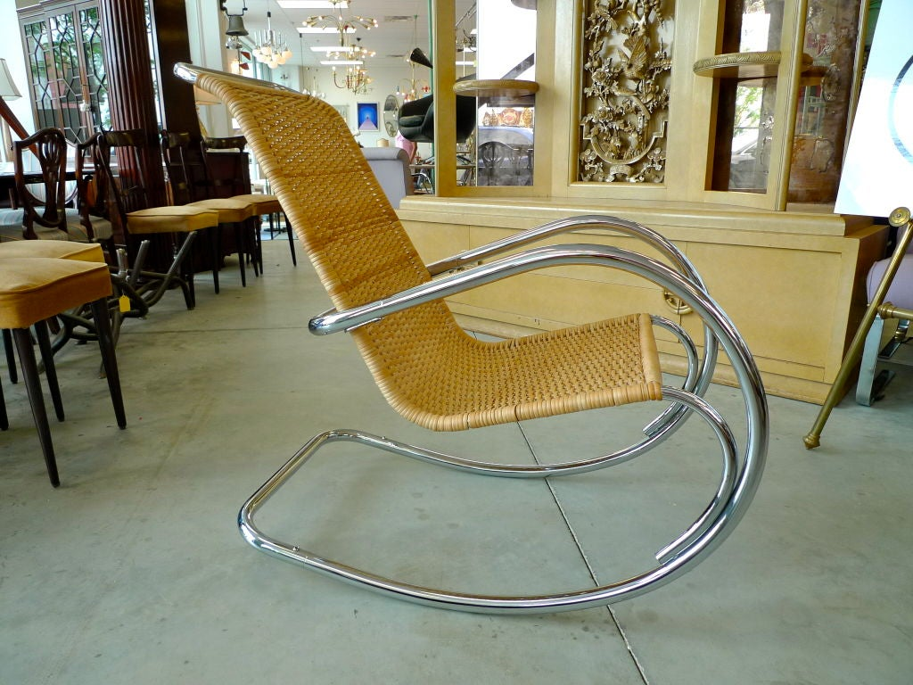 Italian Tubular Chrome & Wicker Rocking Chair In Good Condition For Sale In Hingham, MA
