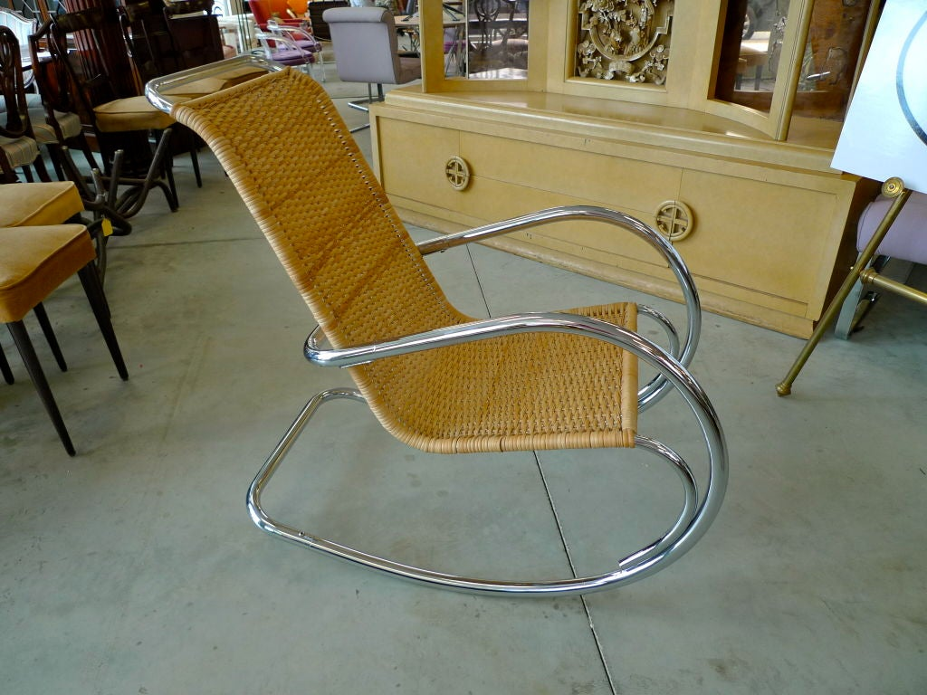 Late 20th Century Italian Tubular Chrome & Wicker Rocking Chair For Sale