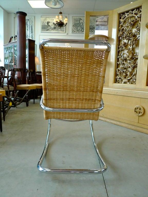 Italian Tubular Chrome And Wicker Rocking Chair At 1stdibs