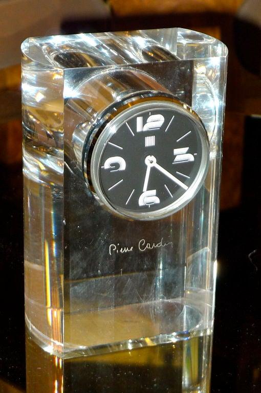 Italian Pierre Cardin Lucite Table Clock For Sale