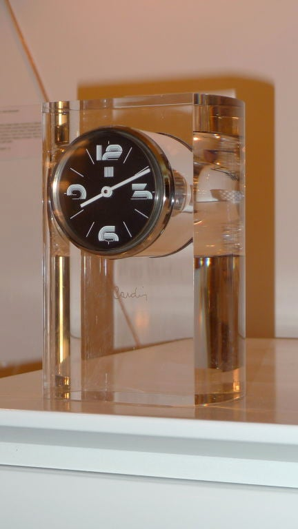 Pierre Cardin Lucite Table Clock For Sale 3