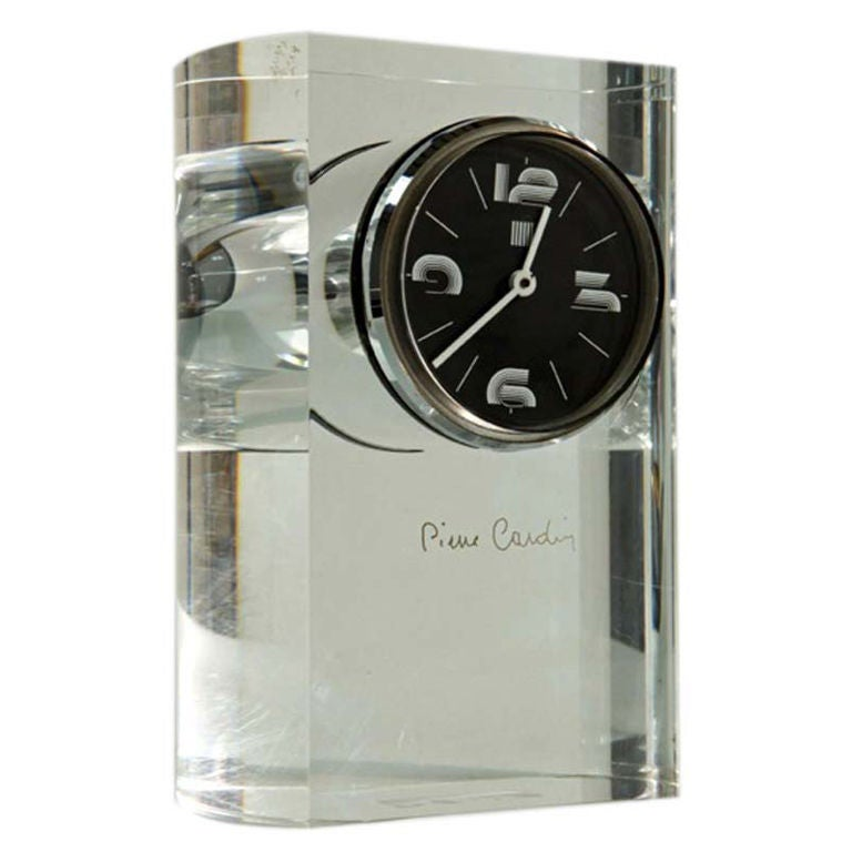 Pierre Cardin Lucite Table Clock For Sale