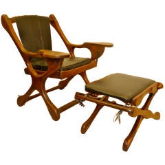 Don Shoemaker for Senal Sling Swinger Chair With Ottoman