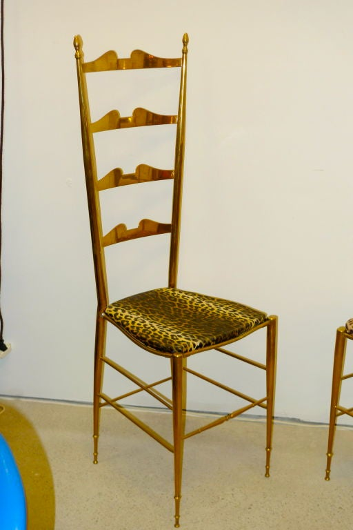 Mid-20th Century Pair of Brass Chiavari Ladder Back Chairs For Sale