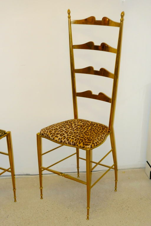 Pair of Brass Chiavari Ladder Back Chairs For Sale 1