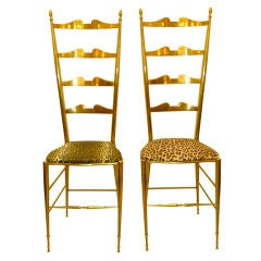 Pair of Brass Chiavari Ladder Back Chairs