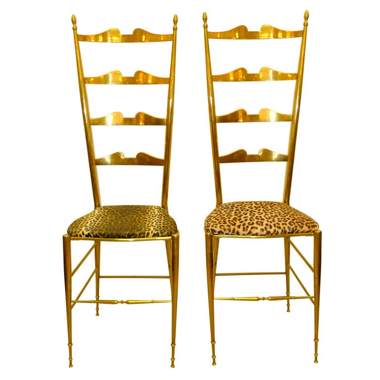 Pair of Brass Chiavari Ladder Back Chairs