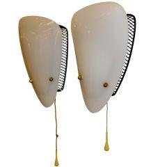 Pair of French 1950's Biomorphic Plexi Sconces
