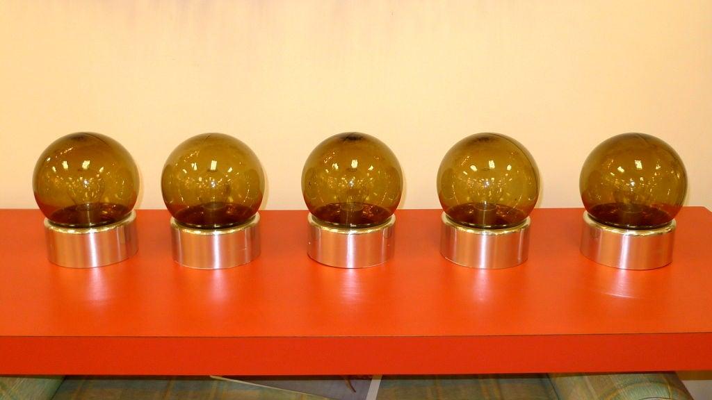 American Set of 5 Lightolier Smoked Glass Ball Lights For Sale