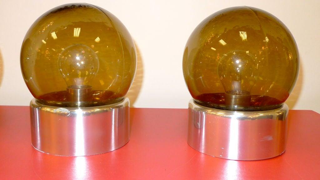 Aluminum Set of 5 Lightolier Smoked Glass Ball Lights For Sale