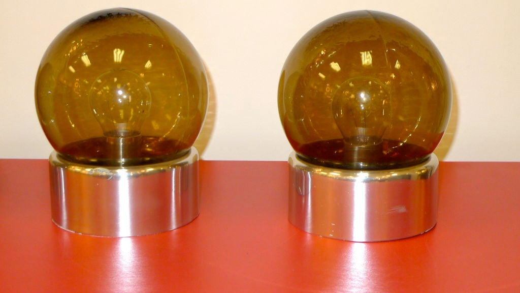 Set of 5 Lightolier Smoked Glass Ball Lights For Sale 1