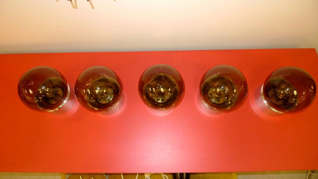 Set of 5 Lightolier Smoked Glass Ball Lights For Sale 2