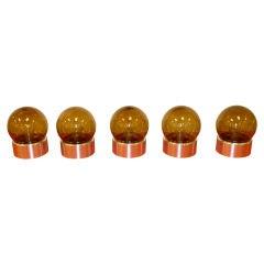 Set of 5 Lightolier Smoked Glass Ball Lights