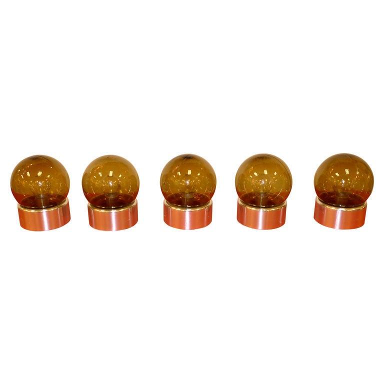 Set of 5 Lightolier Smoked Glass Ball Lights For Sale