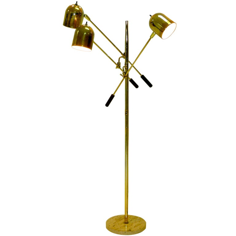 196039s italian floor lamp with 3 articulating arms at 1stdibs for Led articulated floor lamp