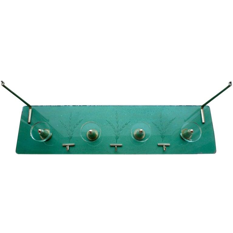 1940's Italian Etched Green Glass & Brass Coat Rack