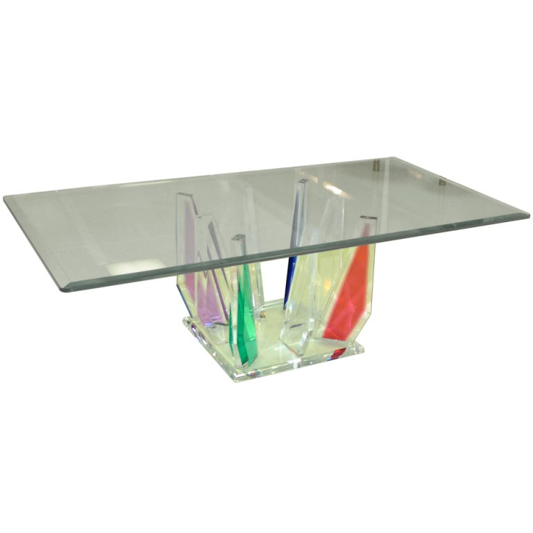Multi-Color Lucite Stalagmite Cocktail Table 1