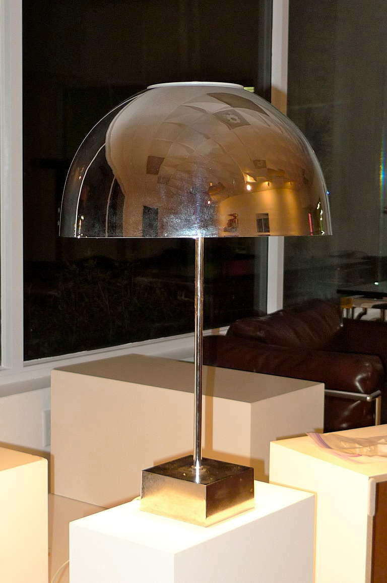 Paul Mayen Chrome Dome Table Lamp for Habitat In Good Condition For Sale In Hingham, MA