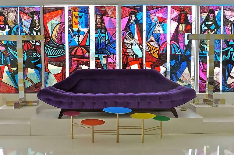 Gondola Sofa in Purple Velvet by Adrian Pearsall 9
