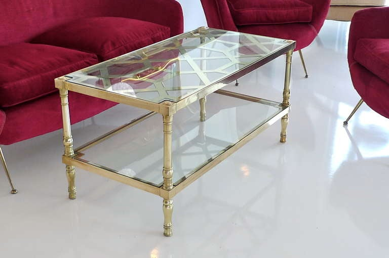 Rectangular Two Tier Cocktail Table In Brass Trellis And