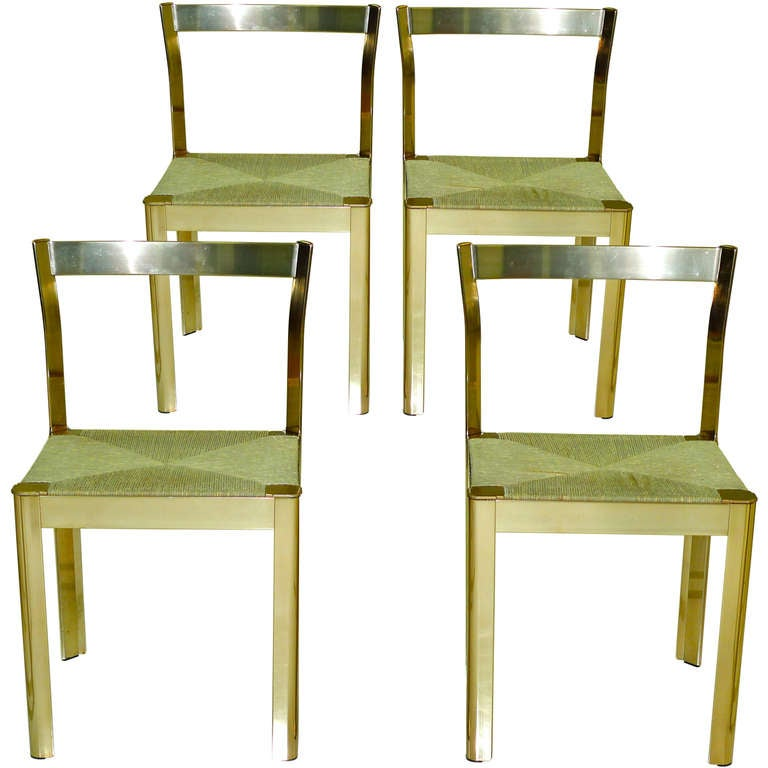 set of 4 italian brass anodized aluminum dining chairs