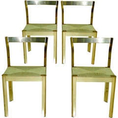 Set of 4 Italian Brass Anodized Aluminum Dining Chairs with Cord Seats