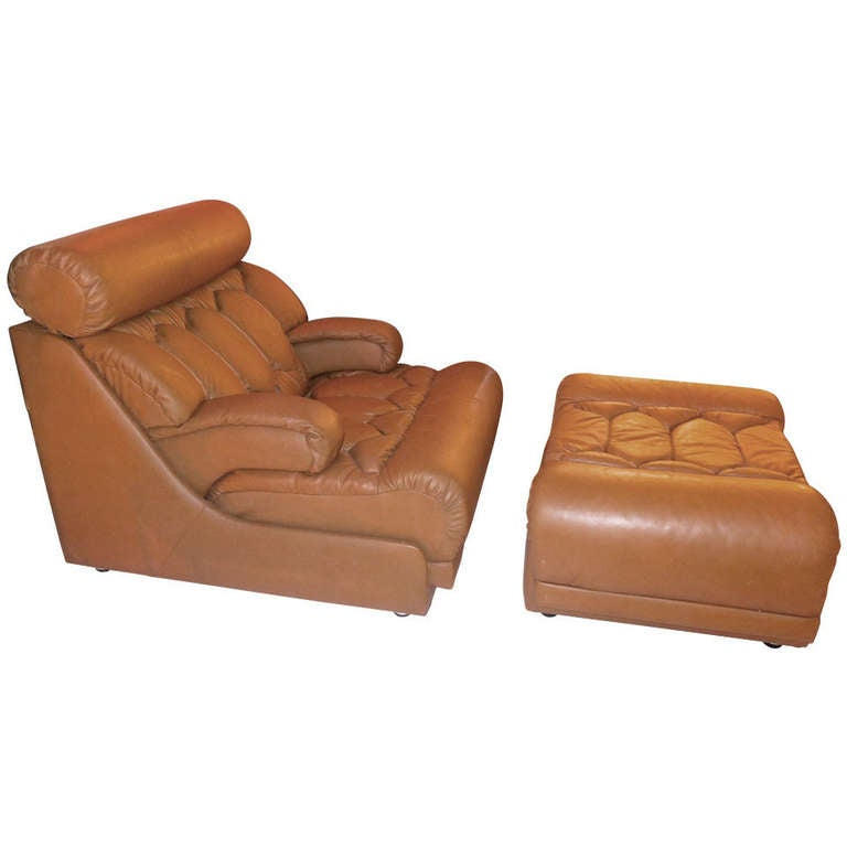 De Sede Caramel Leather Lounge Chair and Ottoman