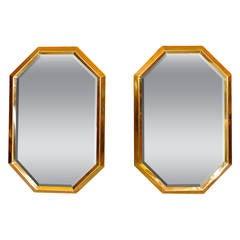 Octagonal Brass Mirrors