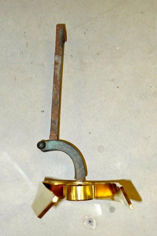 Pair of American Modernist Brass Andirons 1